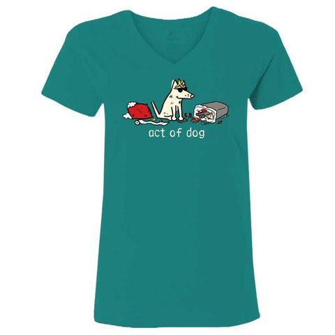 Act Of Dog - Ladies T-Shirt V-Neck - Teddy the Dog T-Shirts and Gifts