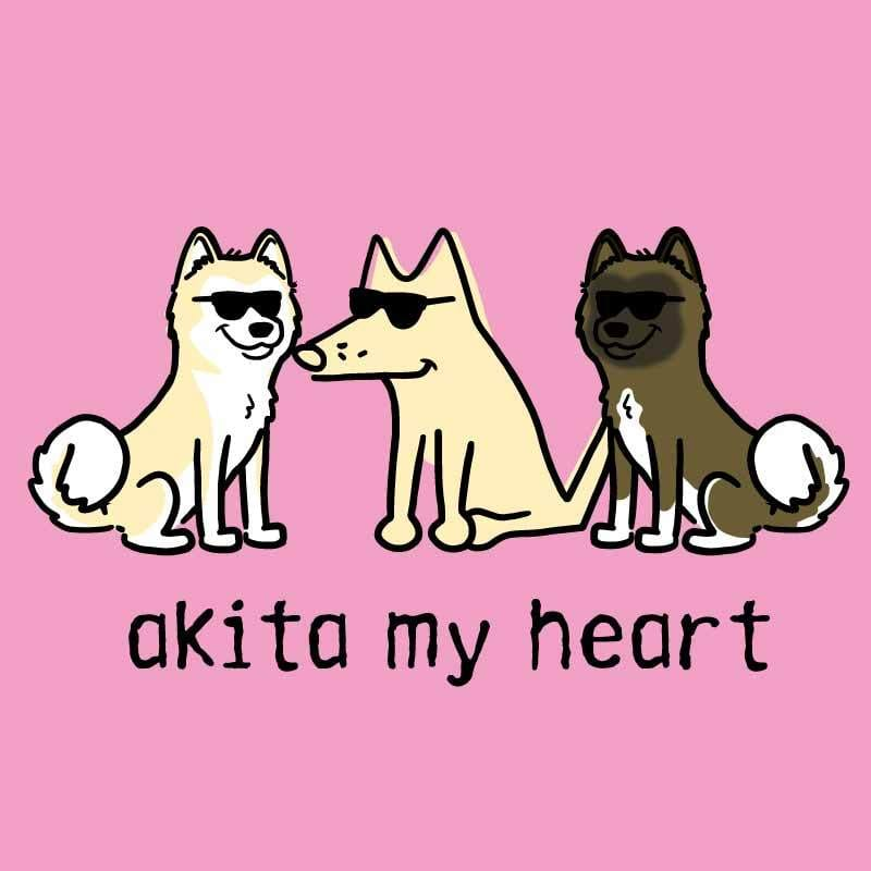 Akita My Heart - Ladies T-Shirt V-Neck - Teddy the Dog T-Shirts and Gifts
