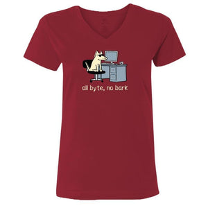 All Byte, No Bark - Ladies T-Shirt V-Neck