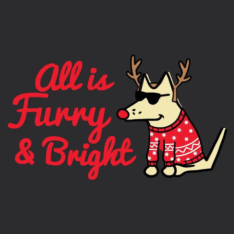 All Is Furry and Bright - Ladies Curvy Long Sleeve Tee