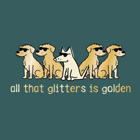 All That Glitters Is Golden - Ladies T-Shirt 3-4 Sleeve - Teddy the Dog T-Shirts and Gifts
