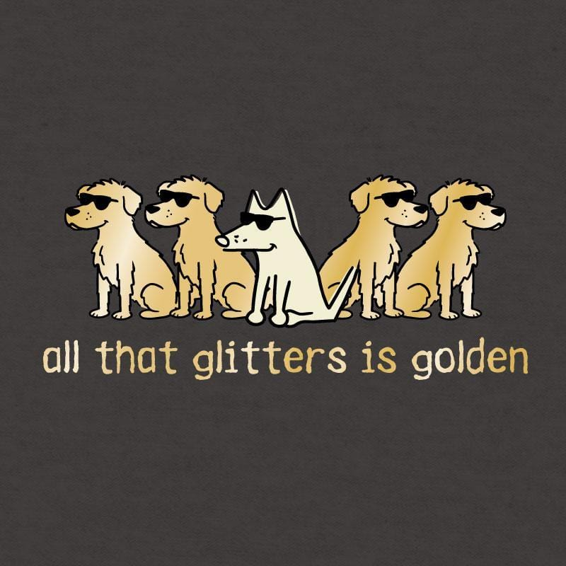 All That Glitters Is Golden - Ladies Curvy V-Neck Tee - Teddy the Dog T-Shirts and Gifts