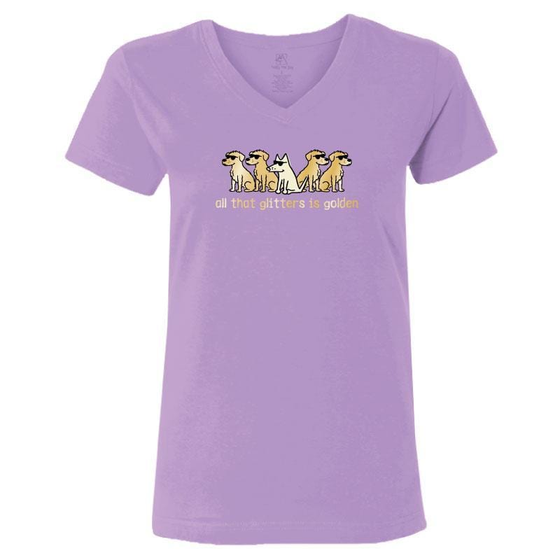 All That Glitters Is Golden - Ladies T-Shirt V-Neck - Teddy the Dog T-Shirts and Gifts