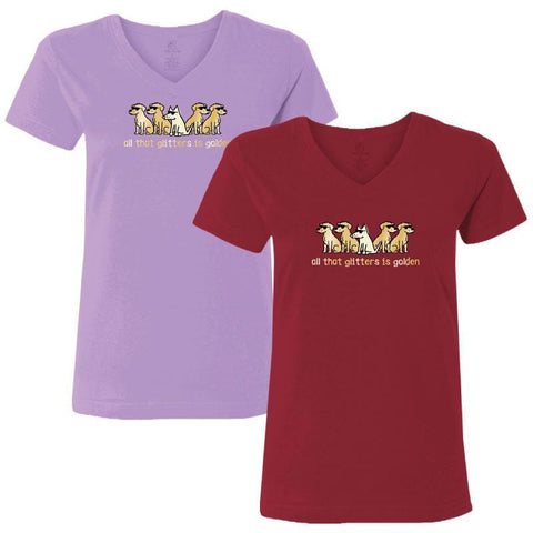 All That Glitters Is Golden - Ladies T-Shirt V-Neck