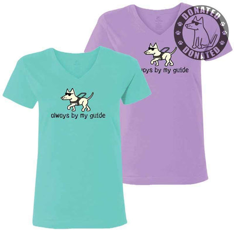 Always By My Guide - Ladies T-Shirt V-Neck - Teddy the Dog T-Shirts and Gifts