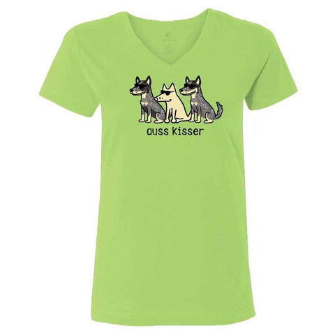 Auss Kisser - Ladies T-Shirt V-Neck - Teddy the Dog T-Shirts and Gifts