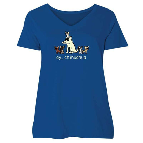 Ay, Chihuahua - Ladies Curvy V-Neck Tee - Teddy the Dog T-Shirts and Gifts