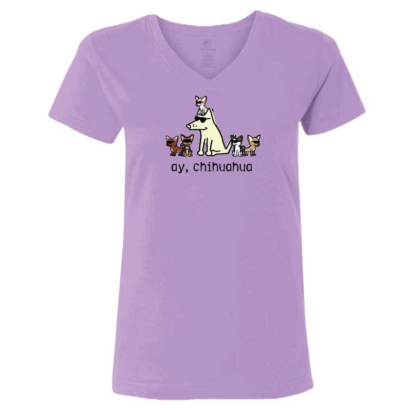 Ay, Chihuahua - Ladies T-Shirt V-Neck - Teddy the Dog T-Shirts and Gifts