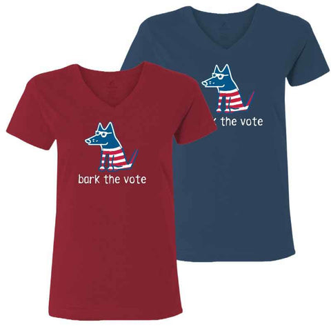 Bark The Vote - Ladies T-Shirt V-Neck - Teddy the Dog T-Shirts and Gifts
