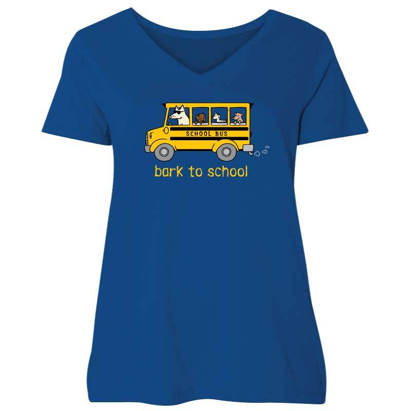 Bark To School - Ladies Curvy V-Neck Tee