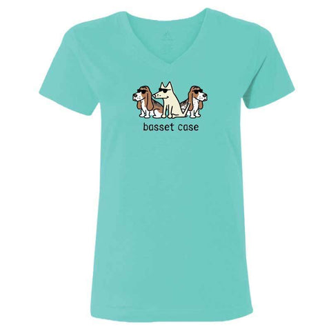 Basset Case - Ladies T-Shirt V-Neck - Teddy the Dog T-Shirts and Gifts