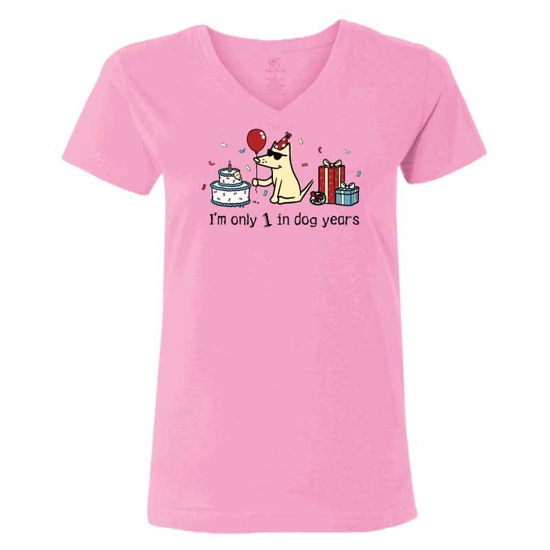Teddy's Birthday Shirt - Ladies T-Shirt V-Neck - Light Pink