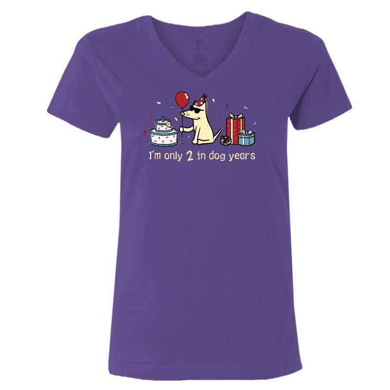 Teddy's Birthday Shirt - Ladies T-Shirt V-Neck - Purple