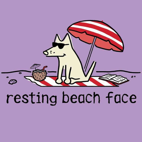 Resting Beach Face - Ladies T-Shirt V-Neck