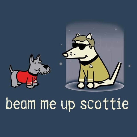 Beam Me Up Scottie - Ladies T-Shirt V-Neck - Teddy the Dog T-Shirts and Gifts