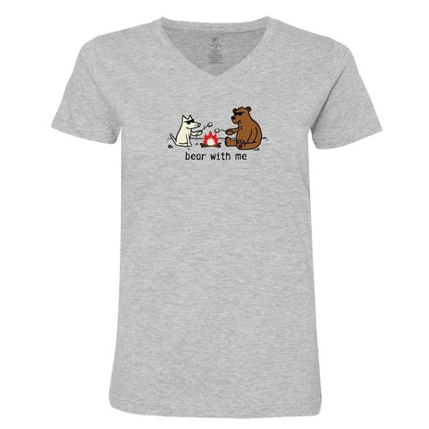 Bear with Me - Ladies T-Shirt V-Neck - Teddy the Dog T-Shirts and Gifts
