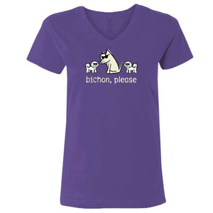 Bichon, Please - Ladies T-Shirt V-Neck - Teddy the Dog T-Shirts and Gifts