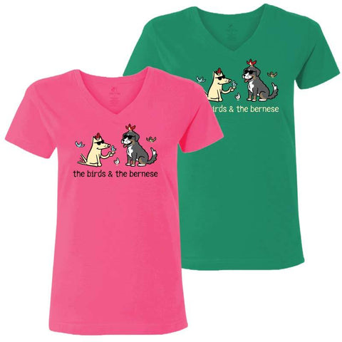 The Birds & The Bernese  - Ladies T-Shirt V-Neck