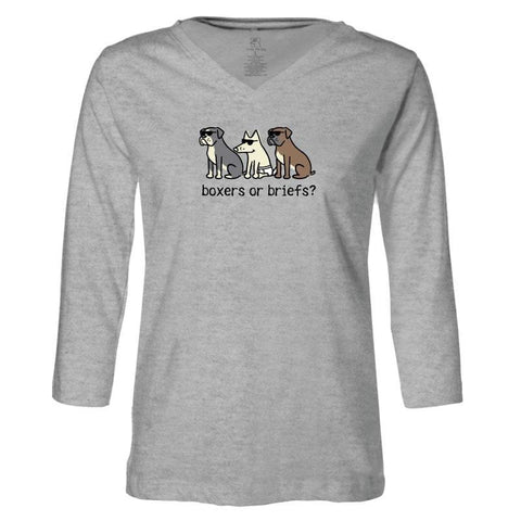 Boxers Or Briefs - Ladies T-Shirt 3-4 Sleeve - Teddy the Dog T-Shirts and Gifts