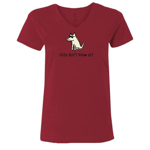 Cats Don't Know Sit - Ladies T-Shirt V-Neck - Teddy the Dog T-Shirts and Gifts