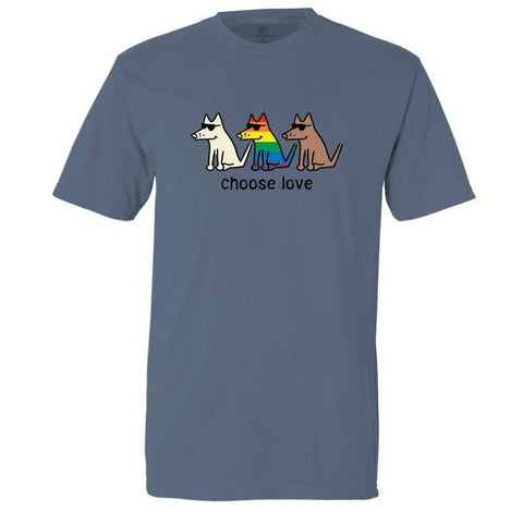 Choose Love T-Shirt - Classic Garment Dyed - Teddy the Dog T-Shirts and Gifts