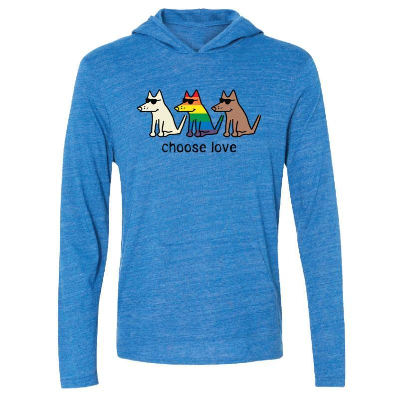 Choose Love - Long-Sleeve Hoodie T-Shirt - Teddy the Dog T-Shirts and Gifts