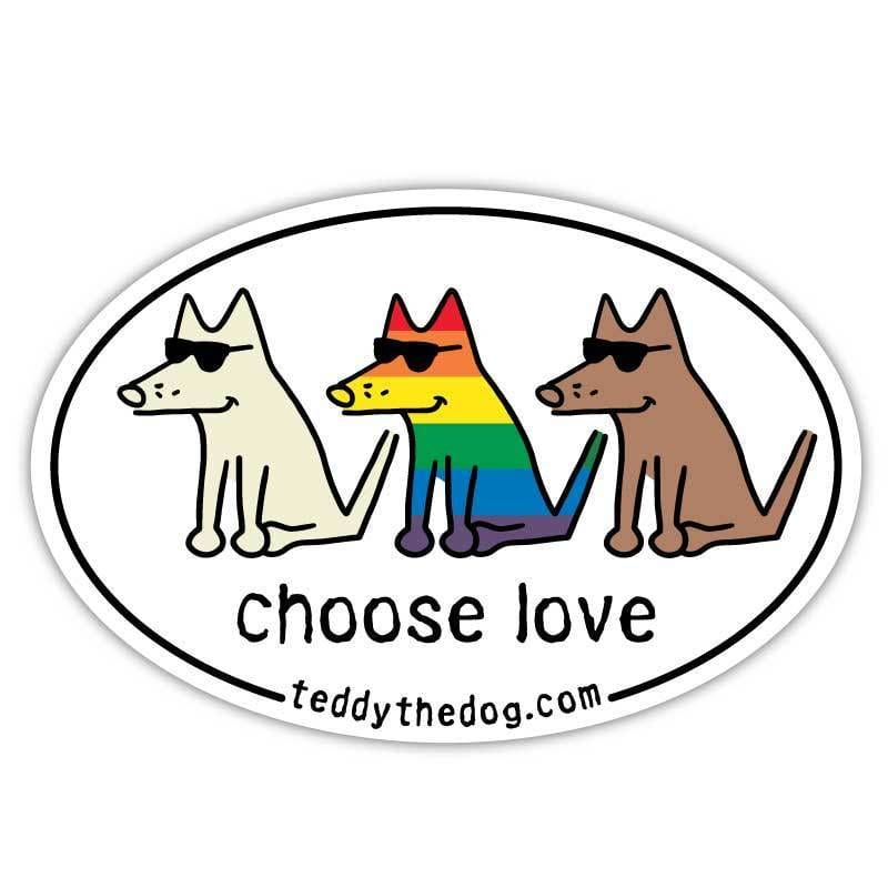 Choose Love - Car Magnet - Teddy the Dog T-Shirts and Gifts