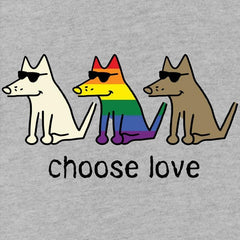 Choose Love - Ladies T-Shirt V-Neck - Teddy the Dog T-Shirts and Gifts