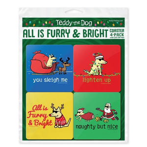 All is Furry and bright - Coaster 4-Pack