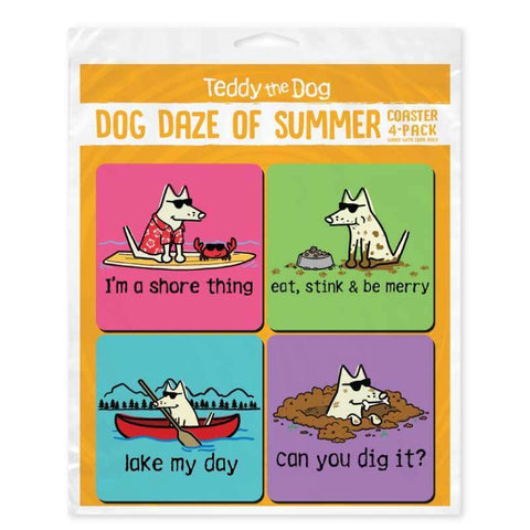 Dog Daze of Summer Coaster 4-Pack - Teddy the Dog T-Shirts and Gifts