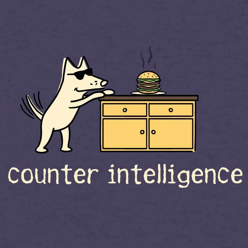 Counter Intelligence - Ladies Curvy V-Neck Tee - Teddy the Dog T-Shirts and Gifts