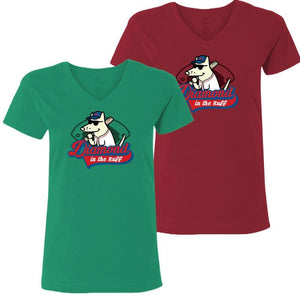 Diamond in the Ruff  - Ladies T-Shirt V-Neck - Teddy the Dog T-Shirts and Gifts