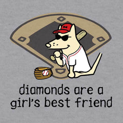 Diamonds Are A Girl's Best Friend - Baseball T-Shirt - Teddy the Dog T-Shirts and Gifts