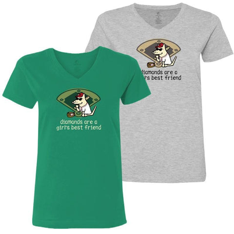 Diamonds Are A Girl's Best Friend - Ladies T-Shirt V-Neck - Teddy the Dog T-Shirts and Gifts