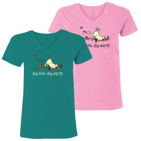 Dig Life, Dig Earth - Ladies T-Shirt V-Neck