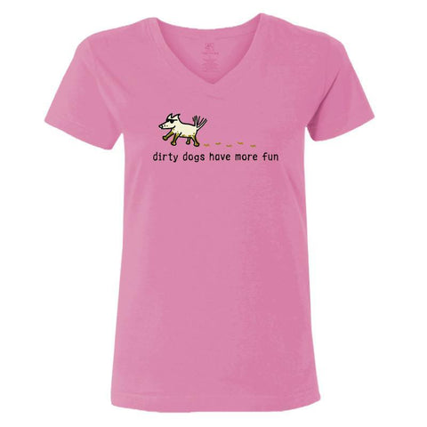 dirty dogs have more fun ladies v neck t-shirt