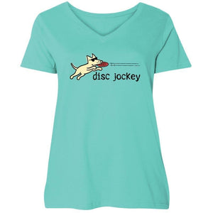 Disc Jockey - Ladies Curvy V-Neck Tee