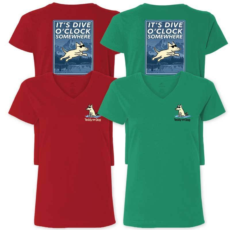 It's Dive-O-Clock Somewhere - Ladies T-Shirt V-Neck