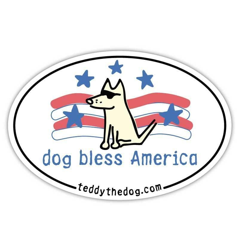 Dog Bless America - Car Magnet - Teddy the Dog T-Shirts and Gifts