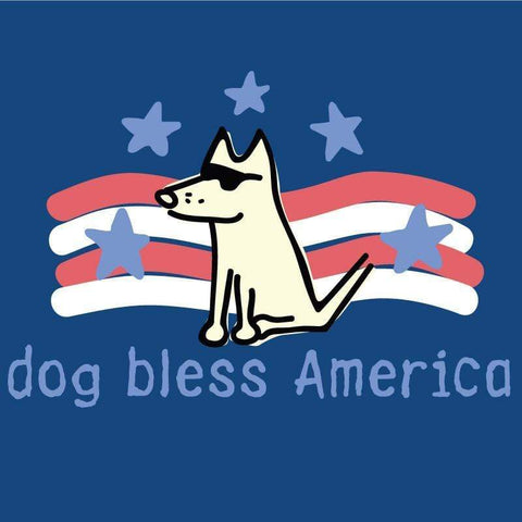 dog bless america ladies v neck t-shirt