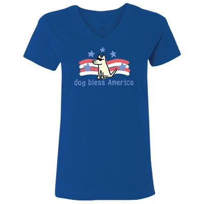 Dog Bless America - Ladies T-Shirt V-Neck - Teddy the Dog T-Shirts and Gifts