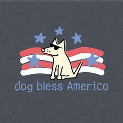 Dog Bless America - Long-Sleeve Hoodie T-Shirt - Teddy the Dog T-Shirts and Gifts