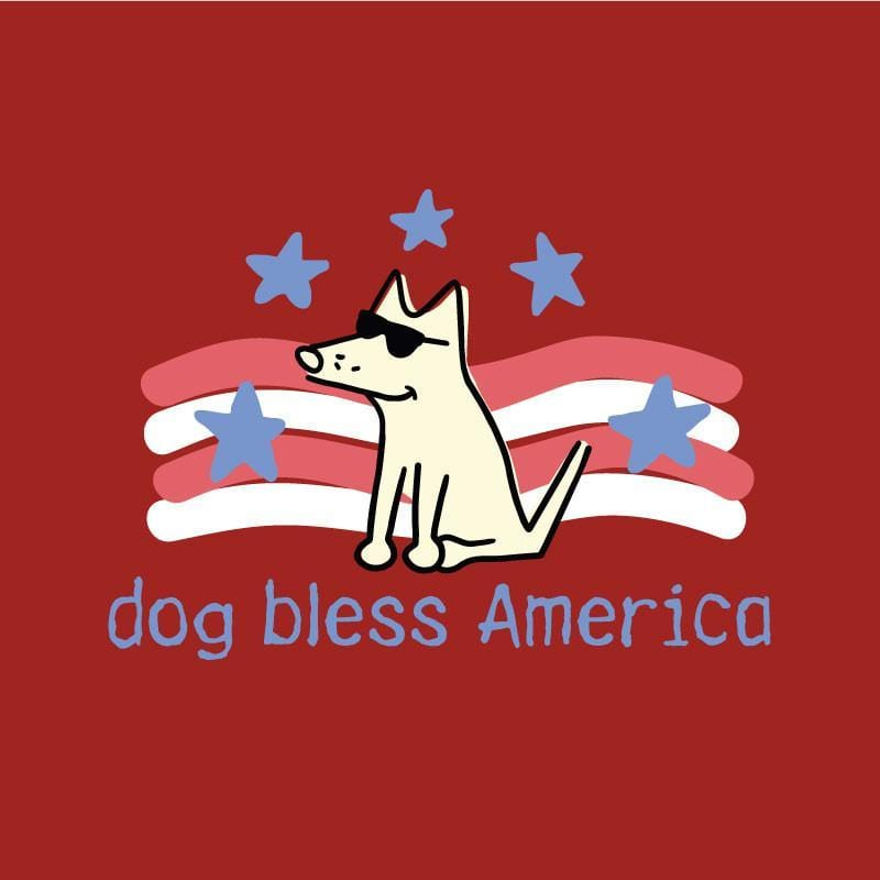 Dog Bless America - Ladies T-Shirt 3-4 Sleeve - Teddy the Dog T-Shirts and Gifts