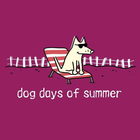 Dog Days of Summer - Ladies T-Shirt 3-4 Sleeve - Teddy the Dog T-Shirts and Gifts