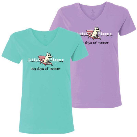 Dog Days of Summer - Ladies T-Shirt V-Neck - Teddy the Dog T-Shirts and Gifts