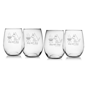 Dog Eat Dog - Wine Glass - Teddy the Dog T-Shirts and Gifts
