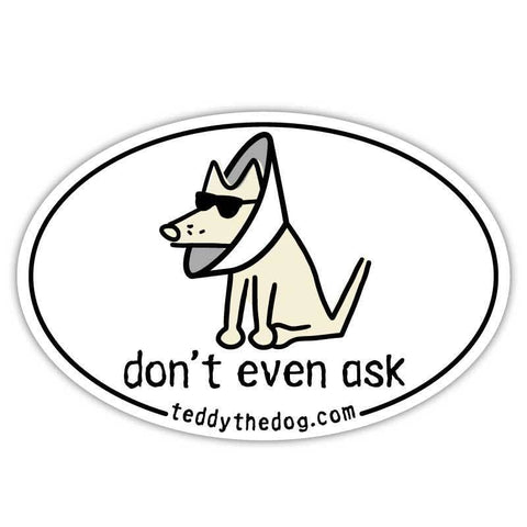 Don't Even Ask Car Magnet - Teddy the Dog T-Shirts and Gifts