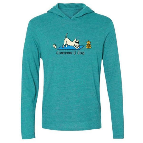 Downward Dog - Long-Sleeve Hoodie T-Shirt - Teddy the Dog T-Shirts and Gifts
