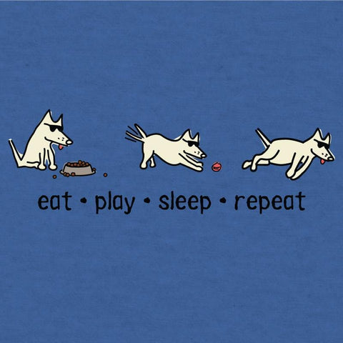 Eat, Play, Sleep, Repeat - T-Shirt Lightweight Blend - Teddy the Dog T-Shirts and Gifts