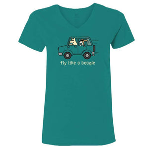 Fly Like a Beagle - Ladies T-Shirt V-Neck